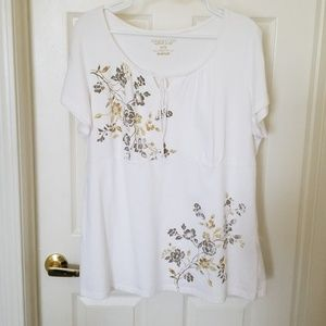 Lane Bryant Jackets & Coats - LANE BRYANT NWOT WHITE WITH FLORAL ACCENT SHIRT.